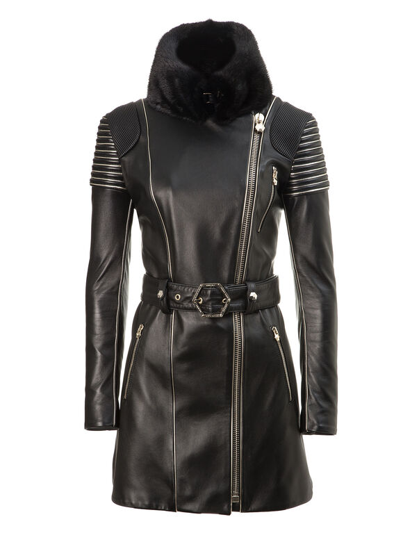 "leather trench ""my pupil"""