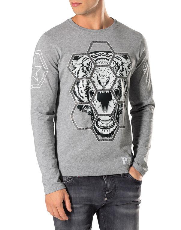 "T-shirt Round Neck LS ""Exagonal tiger"""