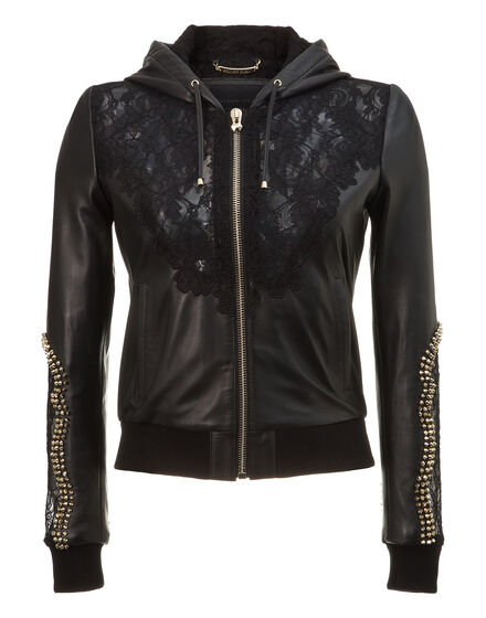 hooded leather jacket my lady