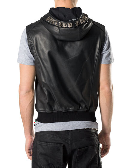"Leather Vest Short ""My skull"""