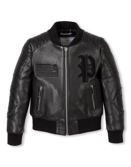 Leather Bomber Black River