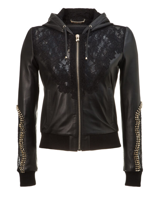 "hooded leather jacket ""my lady"""