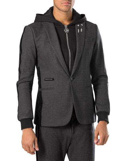 "hooded blazer ""elastic"""