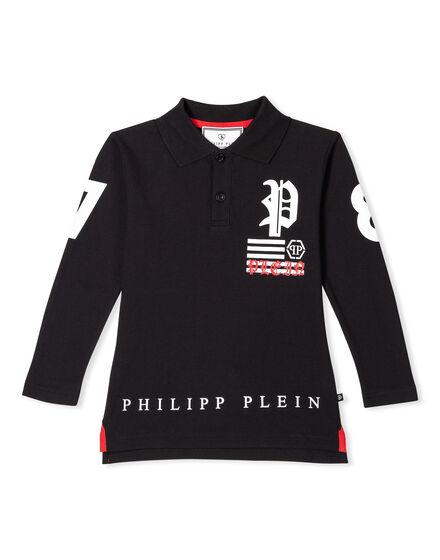 Polo shirt LS Back Skull