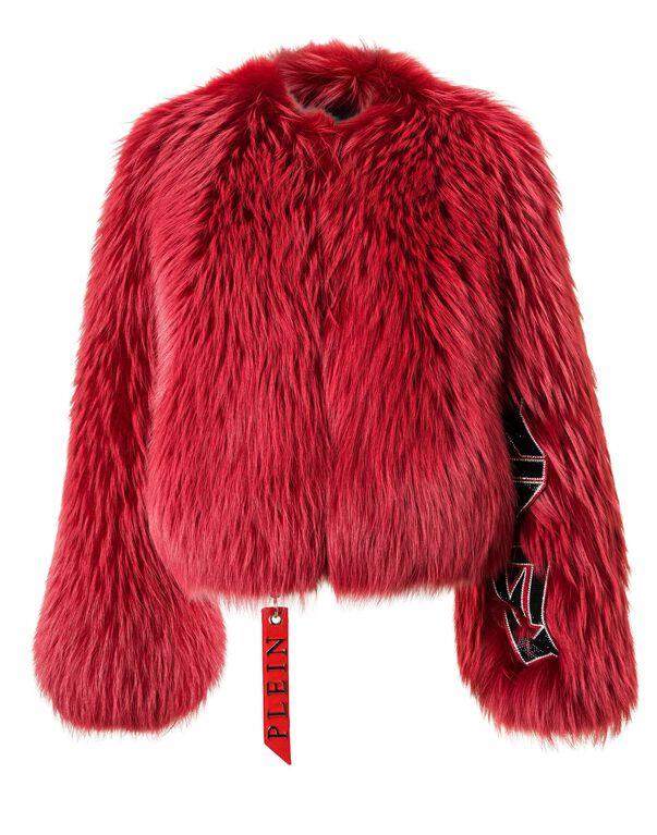 "PHILIPP PLEIN Fur Jacket ""By The True"" in Black"