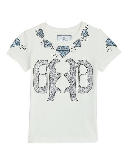 T-shirt Round Neck SS White Fume