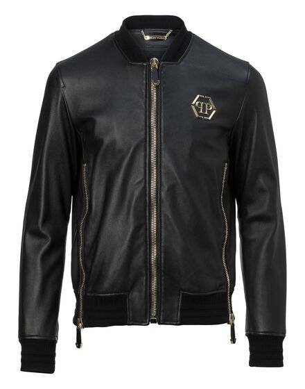 Leather Bomber Gold vibe