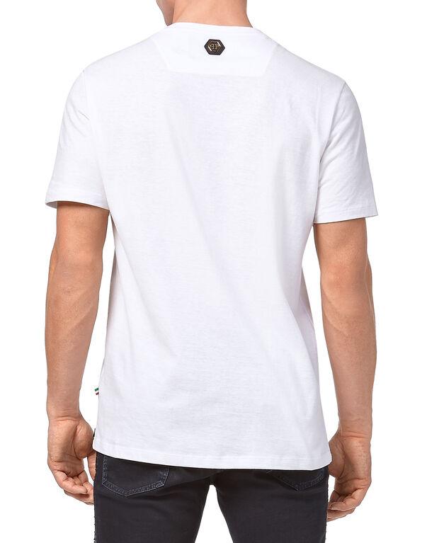 """T-shirt Gold Cut Round Neck """"Plein"""""""