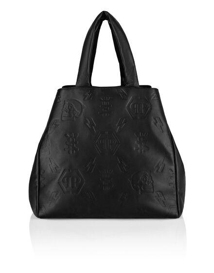 Leather Handle bag maxi Embossed Monogram