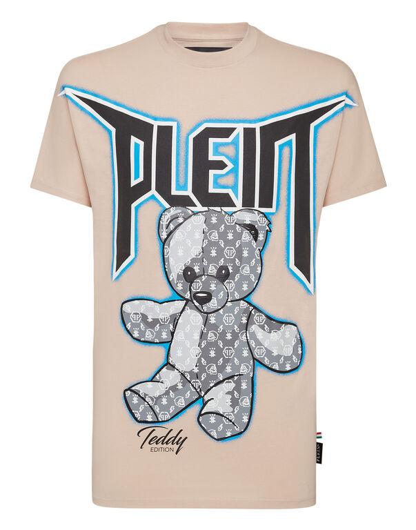 T-shirt Round Neck SS Spray Effect Print Teddy Bear