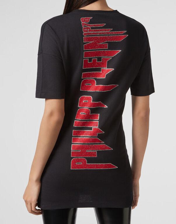 T-shirt Black Cut Round Neck Angel