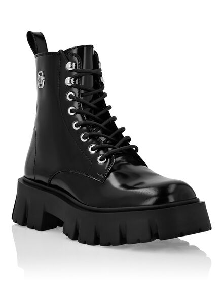 Leather Boots Mid Flat Iconic Plein