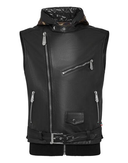 Leather Vest Short Camouflage