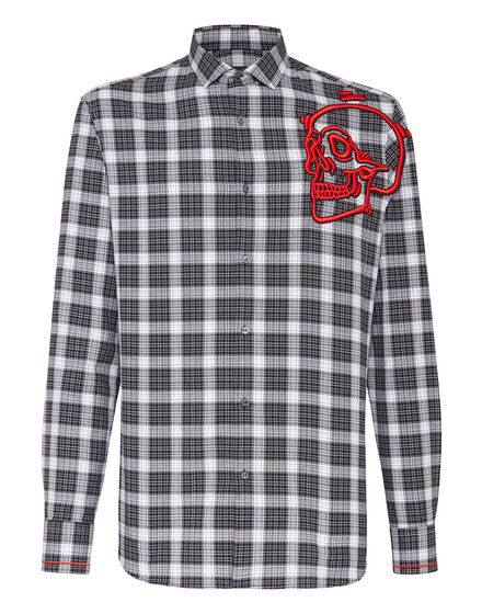 Shirt Crystal cut LS  Outline Skull