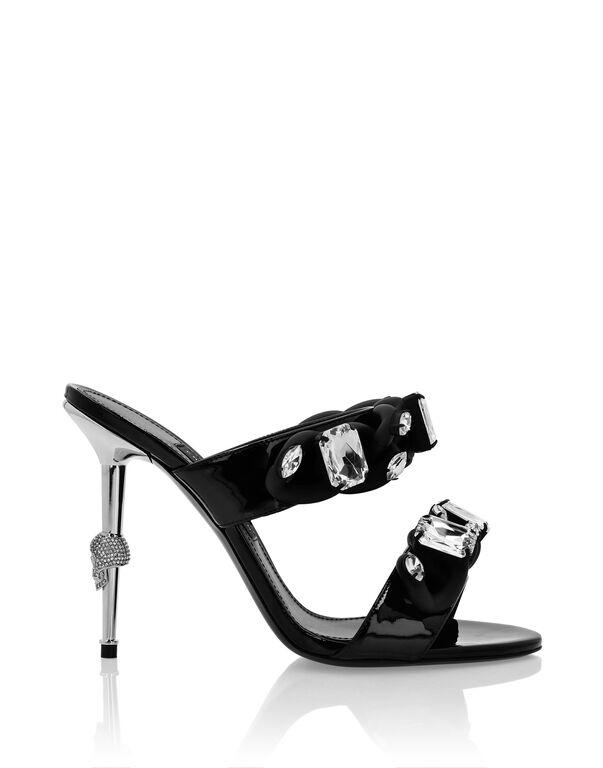 Patent leather Sandals High Heels Chains