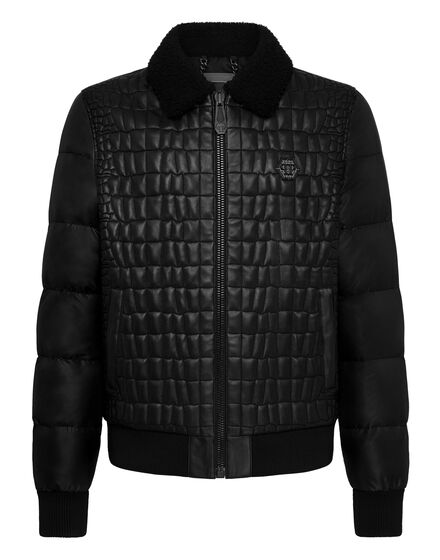 Leather Bomber Iconic Plein
