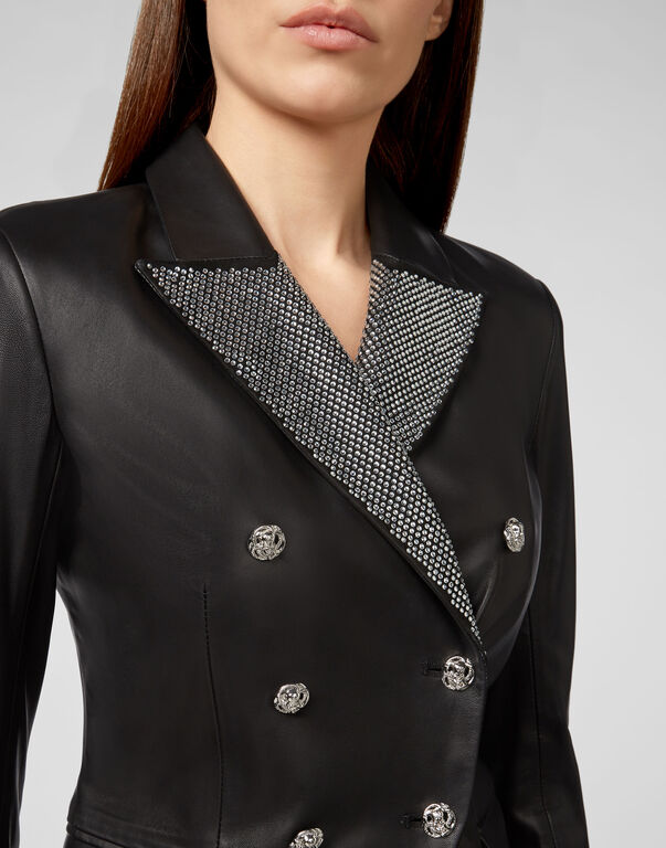 Leather Blazer Crystal