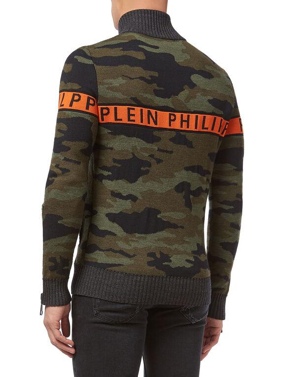 "Knit Jacket ""Orange line"""