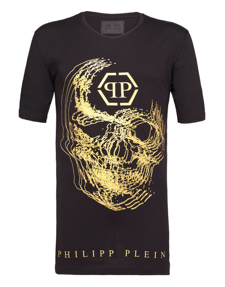 T-shirt Black Cut Round Neck Big skull