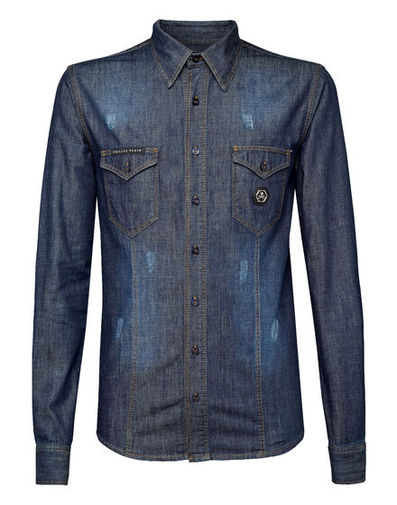 Denim Shirt Ls Skull stars
