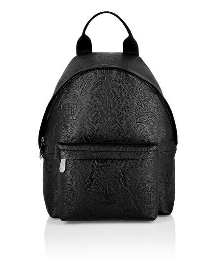 Leather Backpack embossed Monogram