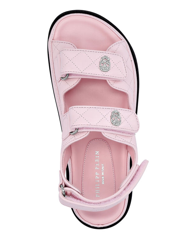 Matelassé Leather Sandals Flat Skull