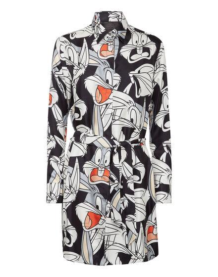 Silk Shirt Dress Printed Looney Tunes