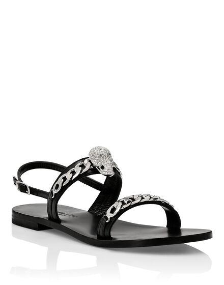Sandals Flat Skull crystal
