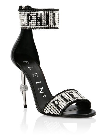 Leather Sandals High Heels Crystal Plein