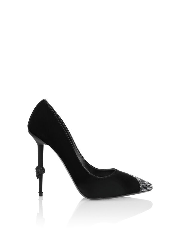 Velvet Decollete Hi-Heels Crystal