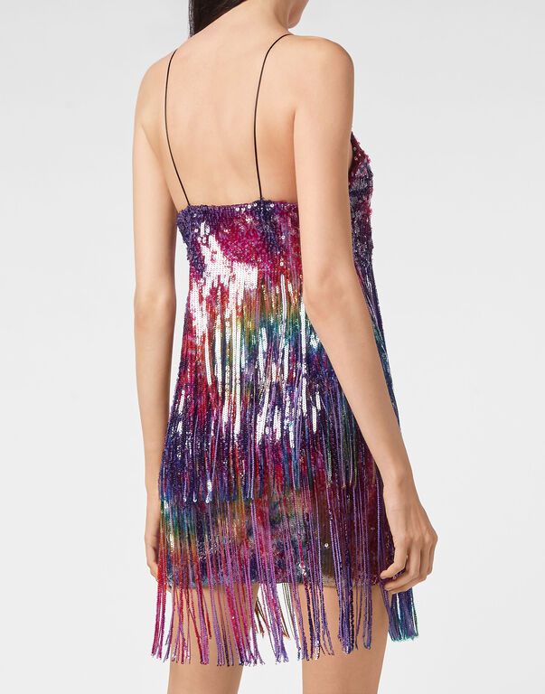 Short Dress Paillettes Fringe  Tie dye