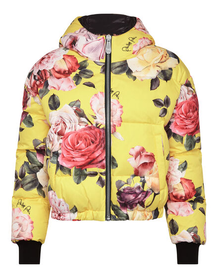 Puffer Jacket Painted  Flowers