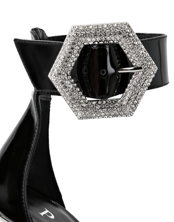 Patent Leather Sandals High Heels Crystal
