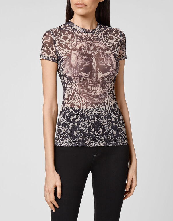 T-Shirt Round Neck SS Stretch Printed Tulle New Baroque