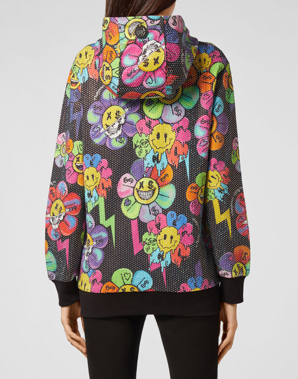 Hoodie Sweatjacket Crystal Flowers