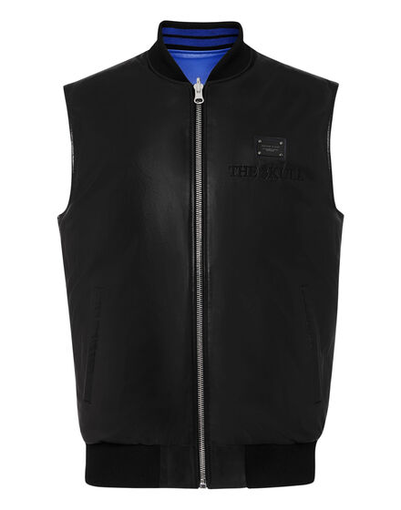 Leather Vest Short Outline Skull