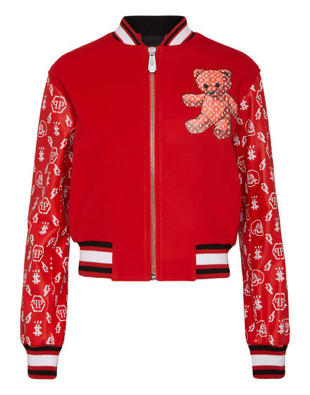 Leather Bomber Monogram Teddy Bear