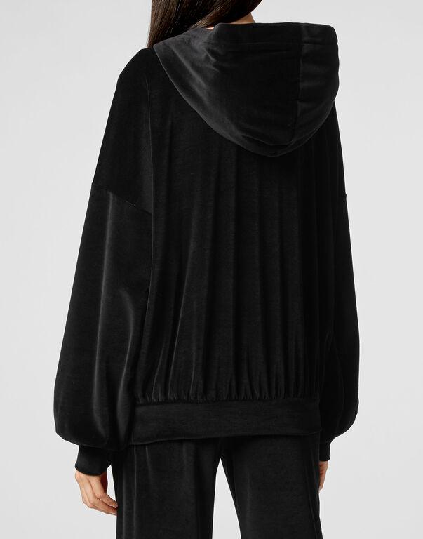 Velvet Hoodie sweatshirt Crystal Chain