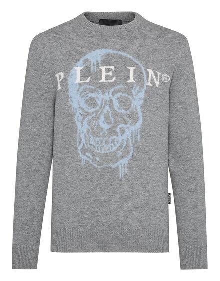 Pullover Round Neck LS Intarsia Skull