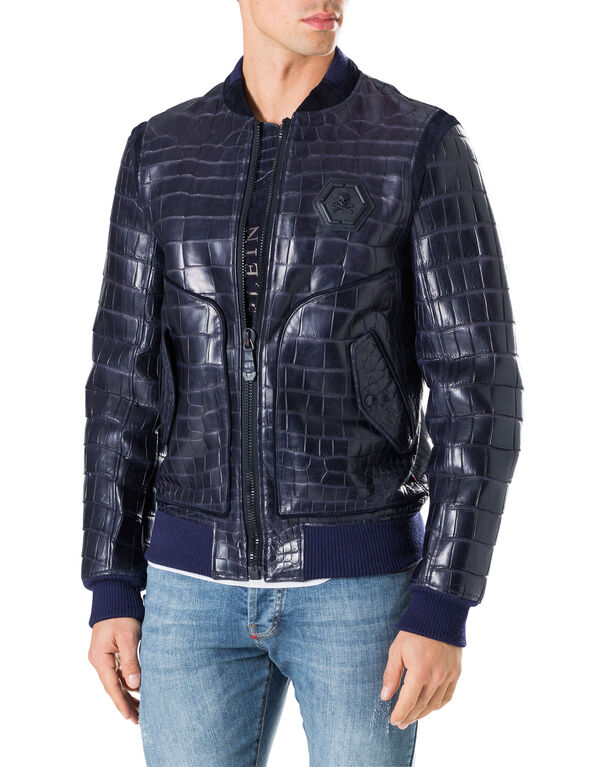 "Leather Bomber ""Tiger face"""