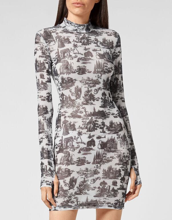 Short Dress Stretch Printed Tulle En PLEIN air