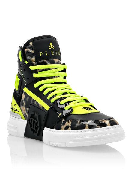 Patent Leather PHANTOM KICK$ Hi-Top Sneakers Leopard