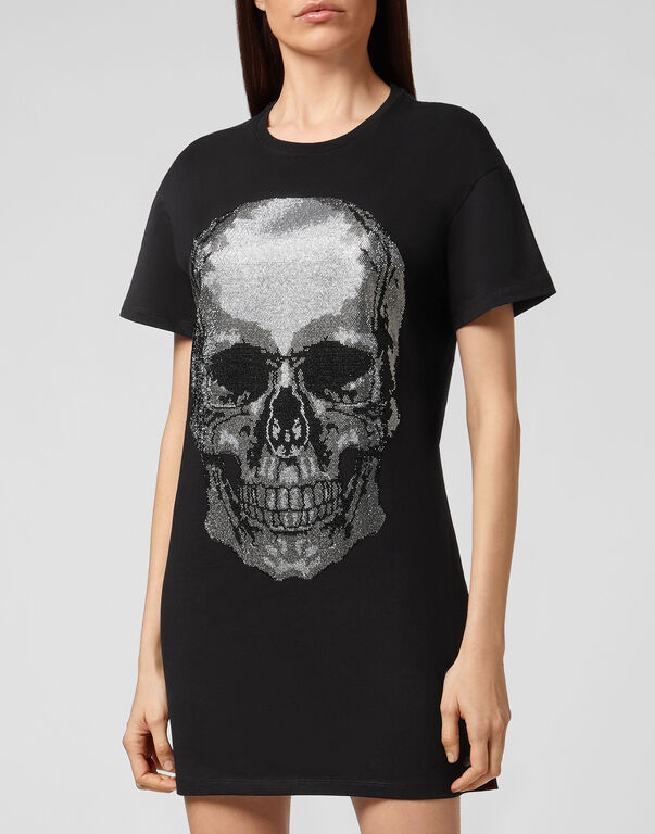 T-Shirt Short Dresses Classic Skull strass