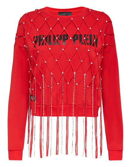 Sweatshirt LS Net Crystal Touch Fringe