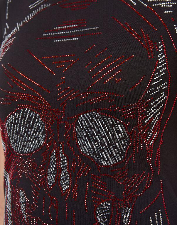 "T-shirt Round Neck SS ""Line Skull"""
