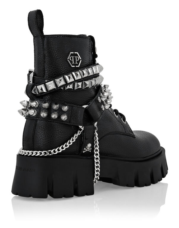 Leather Boots Studs Hexagon
