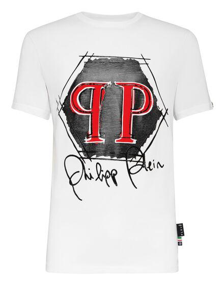T-shirt Platinum Cut Round Neck Hexagon