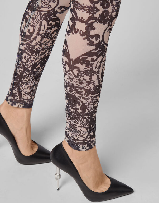 Leggings Stretch Printed Tulle New Baroque