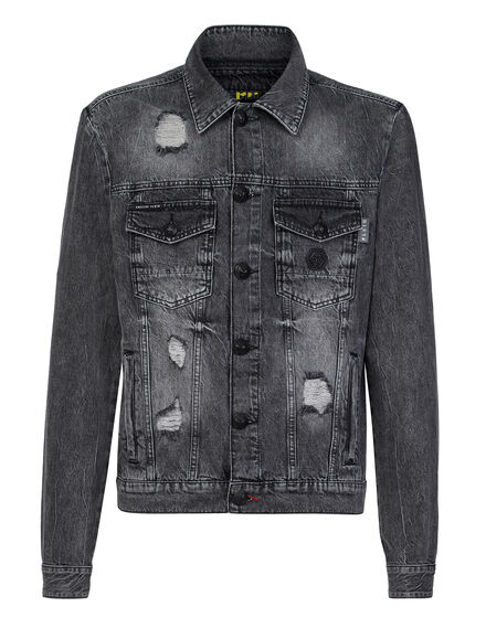 Denim Jacket Skull crystal