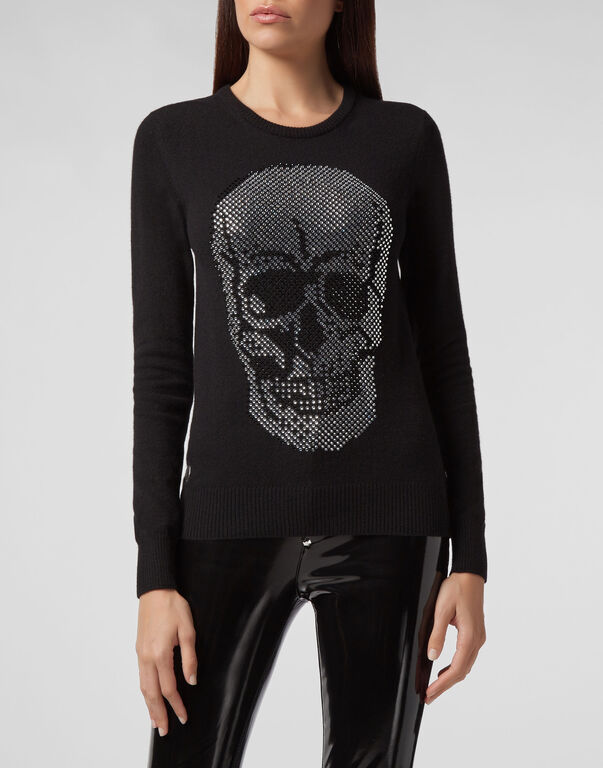 Pullover Round Neck LS Skull crystal